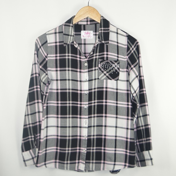 Justice Other - Girl's Plaid Shirt Black/White/Pink/Rhinestones